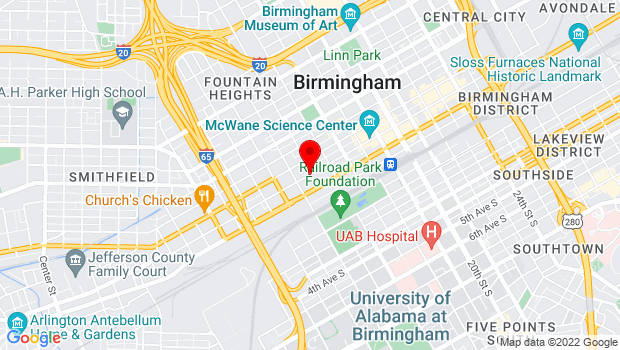 Google Map of 2nd Ave N., Birmingham, AL 35203