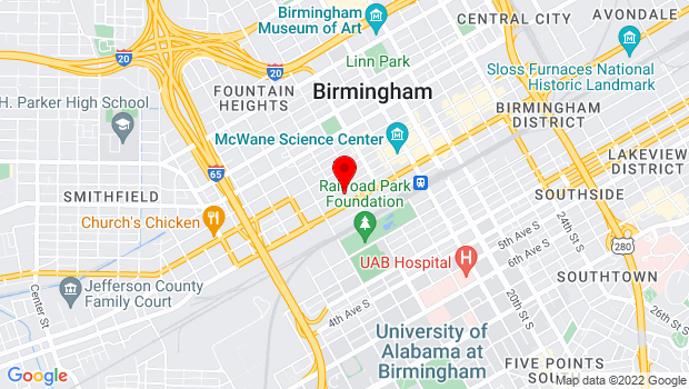 Google Map of 1500 1st Ave N, Birmingham, AL 35203