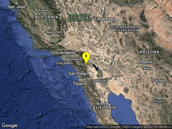 earthquake 12km ESE of Anza, CA