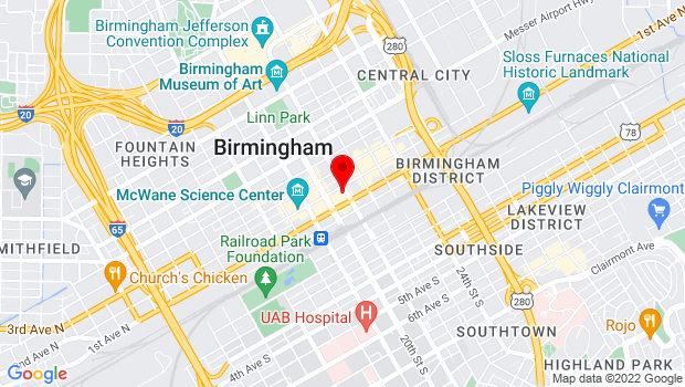Google Map of 112 Richard Arrington Jr Blvd, Birmingham, Alabama 35203