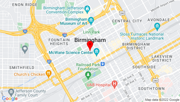 Google Map of 4th Avenue North & 18th Street, Birmingham, AL 35203