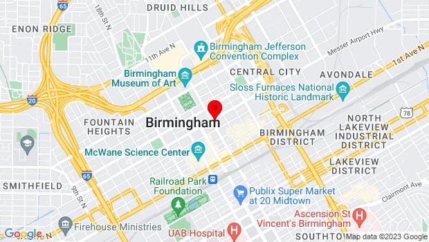 Google Map of 2101 5th Ave N, Birmingham, AL 35203