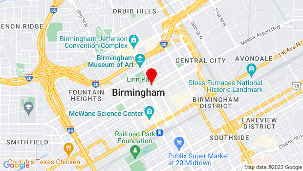 Google Map of 2017 Sixth Avenue North, Birmingham, Alabama 35203