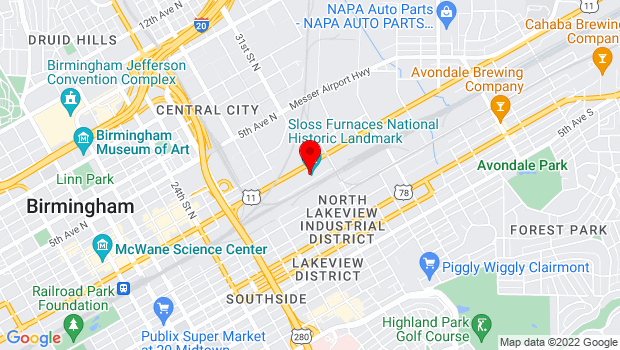 Google Map of 20 32nd Street North, Birmingham, AL 35222