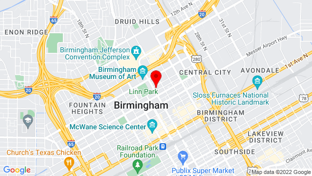Google Map of 2100 Park Place, Birmingham, AL 35203