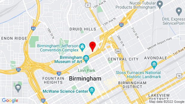 Google Map of 2100 Richard Arrington Jr. Blvd. North , Birmingham, AL 35203