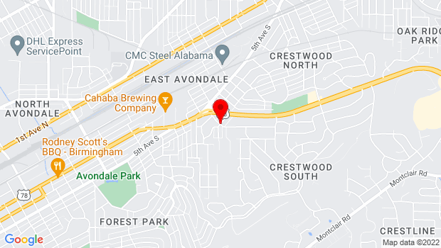 Google Map of 2717 Seventh Ave South, Birmingham, AL 35222