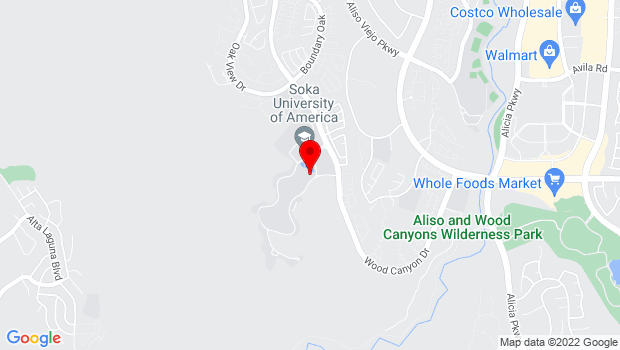 Google Map of One University Drive, Aliso Viejo, CA 92656