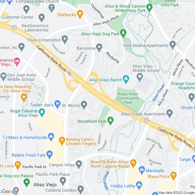 Map of Toll Road   SR-73 Aliso Creek On