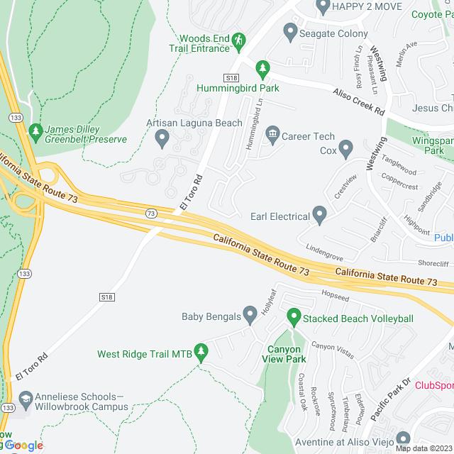 Map of Toll Road   SR-73 El Toro Off