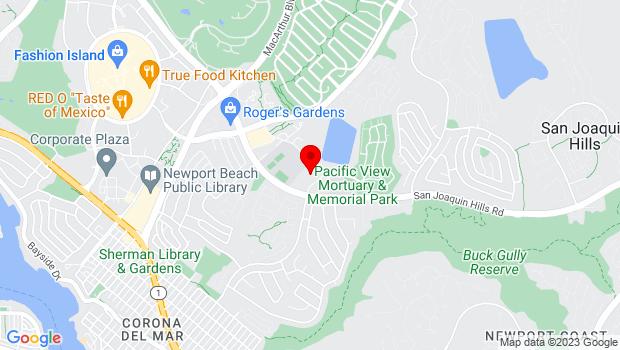 Google Map of 3233 Pacific View Drive, Corona Del Mar, CA 92625