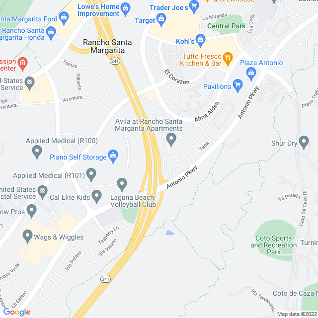 Map of Toll Road |  SR-241 Antonio Parkway On