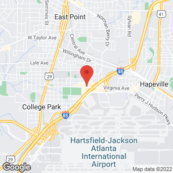 Map of Arby's at 1359 Virginia Ave, Atlanta, GA 30344-5225
