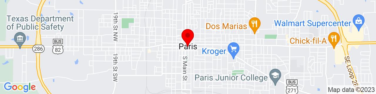 Google Map of 33.66083333333333, -95.55555555555556