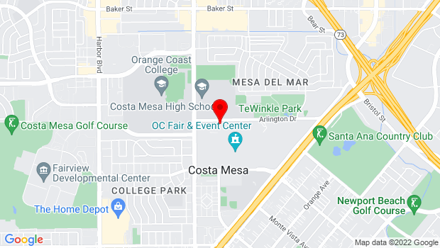 Google Map of 88 Fair Drive, Costa Mesa, CA 92626