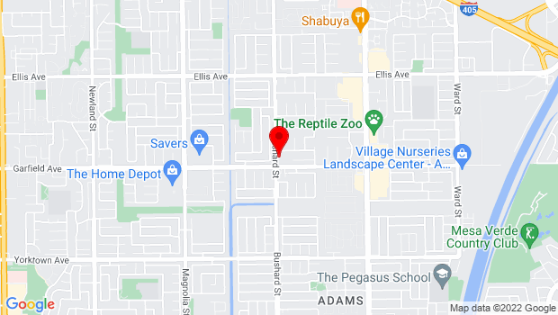 Google Map of 9527 Garfield Avenue, Fountain Valley, CA 92708