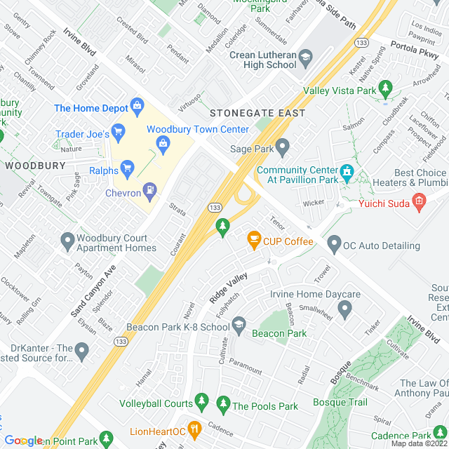 Map of Irvine Blvd. - East Off