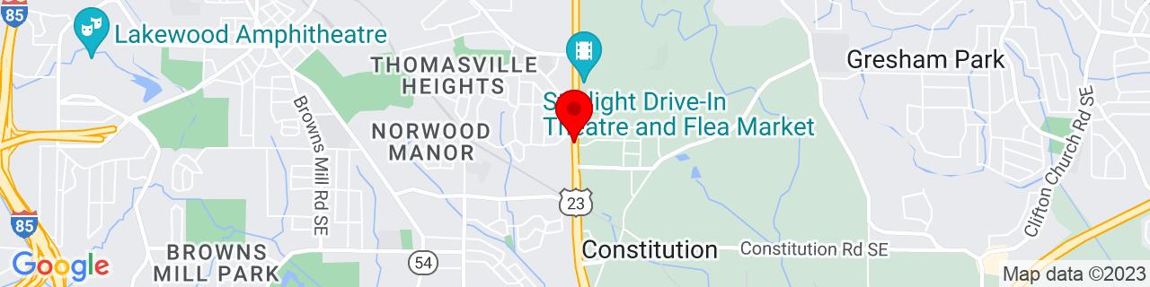 Google Map of 33.69733, -84.34965