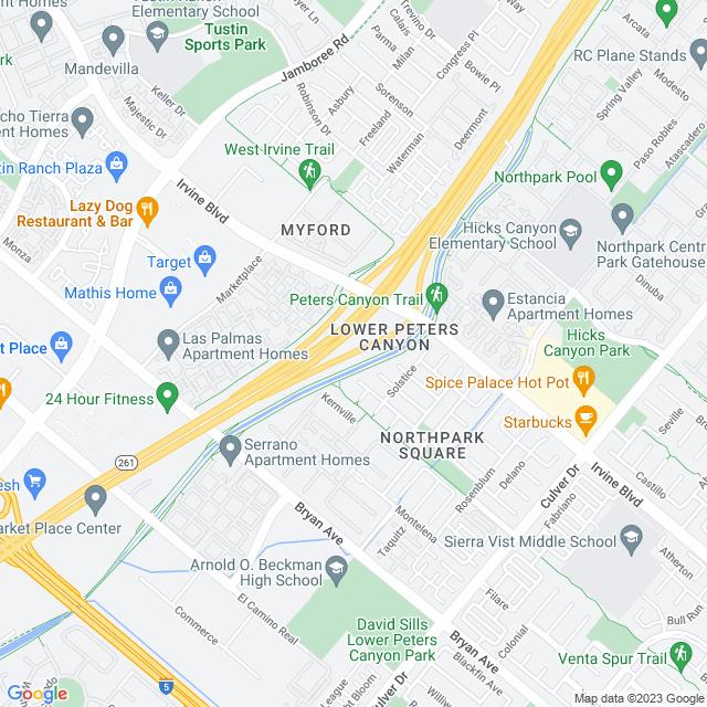 Map of SR-261 Irvine Blvd - West NB Off