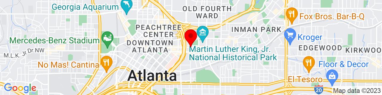 Google Map of 33.7555089, -84.3765959