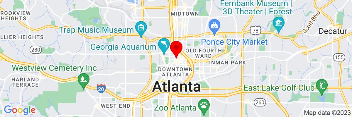 Google Map of 33.761479444444,-84.387889722222
