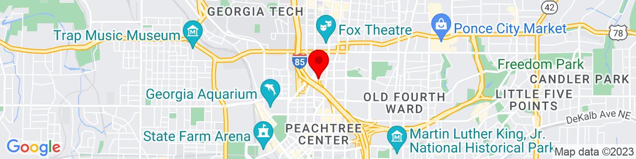 Google Map of 33.7673372, -84.3868011