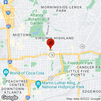Map of Staples® Print & Marketing Services at 650 Ponce De Leon Ave, Atlanta, GA 30308