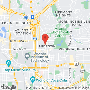 Map of Panera Bread at 1080 Peachtree St. NE, Atlanta, GA 30309