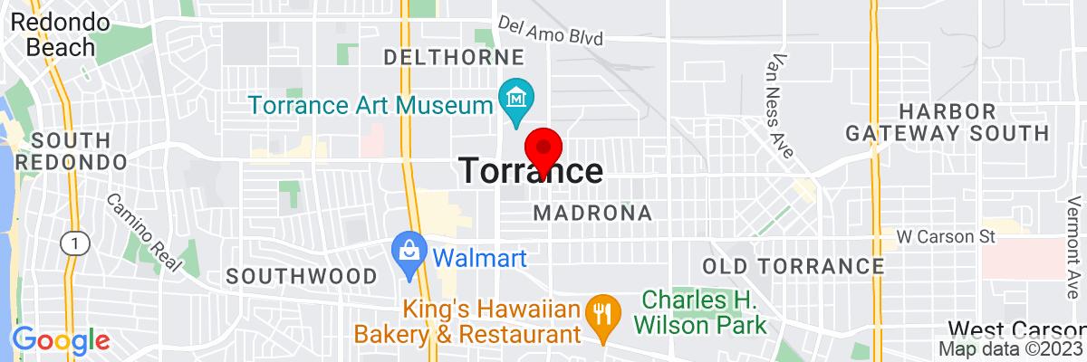 Google Map of 33.835849166667,-118.34062888889