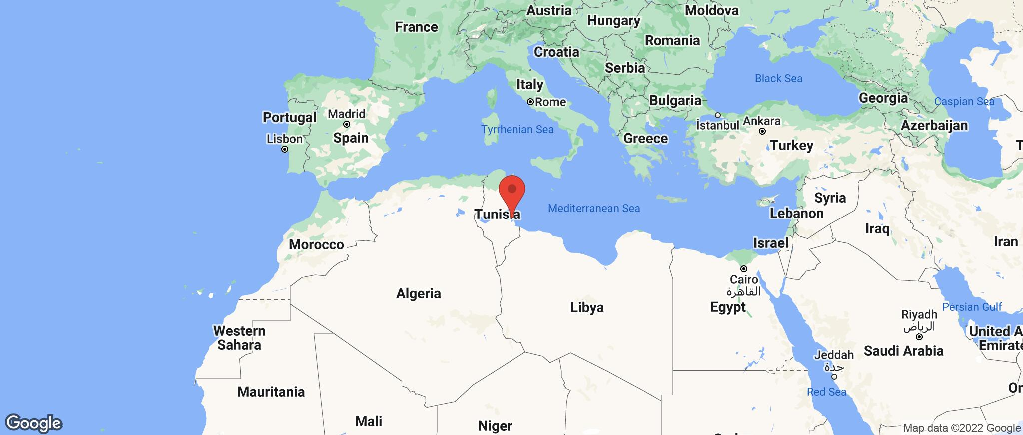 Map showing the location of Djerba