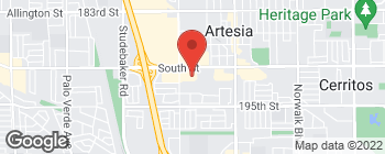 Map of 11480 South St in Cerritos