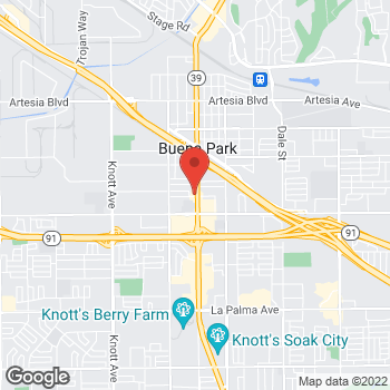 Map of Arby's at 6801 Beach Blvd, Buena Park, CA 90620