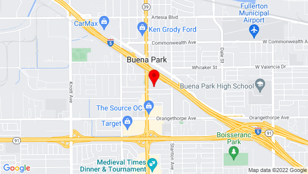 Google Map of 6650 Beach Boulevard, PO Box 5009, Buena Park, CA 90622