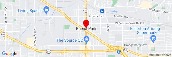Google Map of 33.867404444444,-117.99813861111
