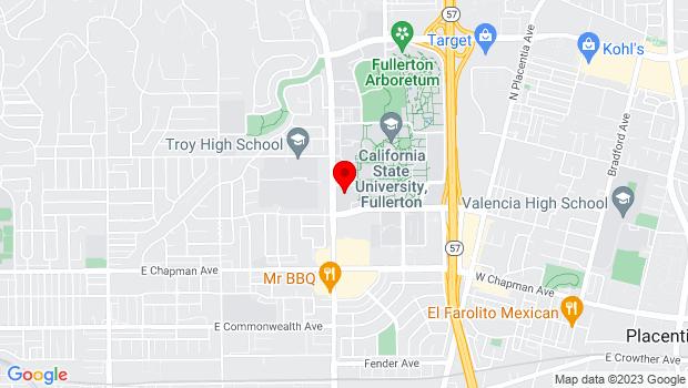 Google Map of 800 North State College Blvd., Fullerton, CA 92834