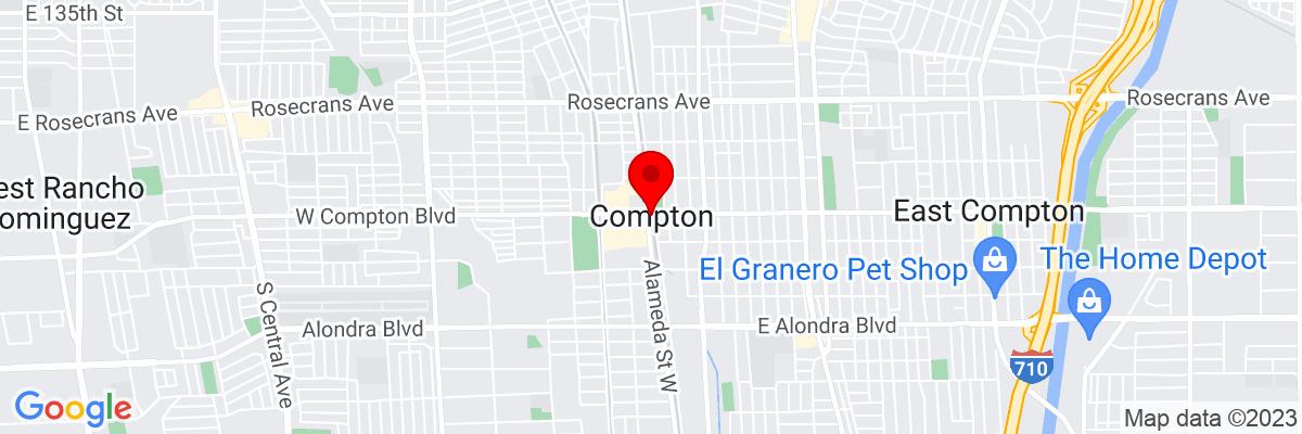 Google Map of 33.895849166667,-118.22007111111