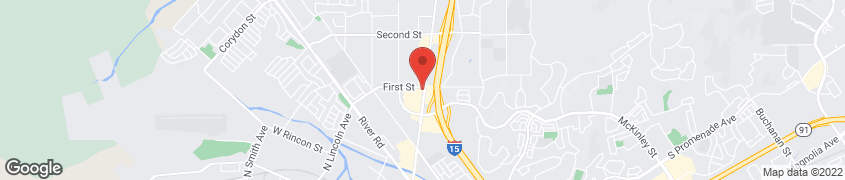 Map of 1360 N Hamner Ave in Norco