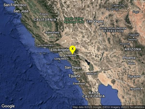 earthquake 3km SE of Moreno Valley, CA