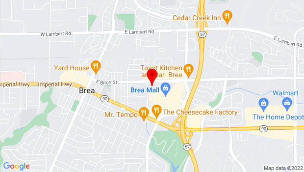 Google Map of 1 Civic Center Circle, Brea, CA 92821