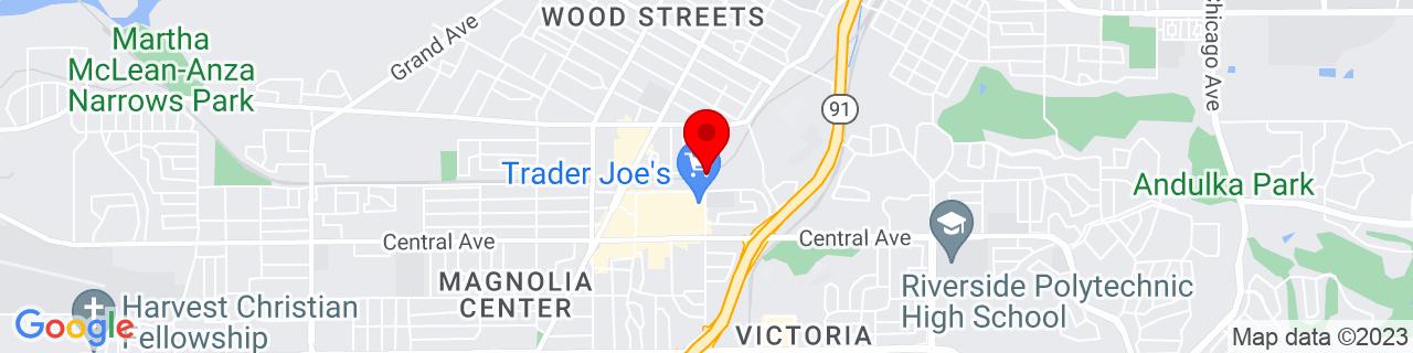 Google Map of 33.9576615, -117.3879191