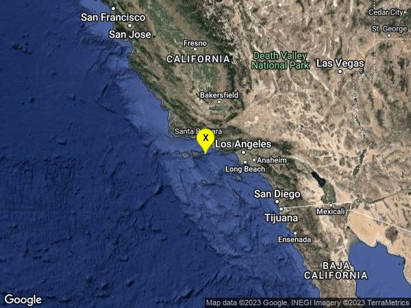 earthquake 6km SE of Santa Cruz Is. (E end), CA