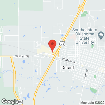 Map of Taco Bell at 206 Westside Dr, Durant, OK 74701