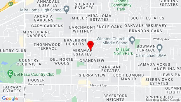 Google Map of 3300 Eastern Ave., Sacramento, CA 95821