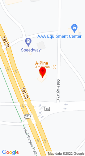 Google Map of AAA Equipment Center 33188 Old Hwy. 371, Pequot Lakes, MN, 56172
