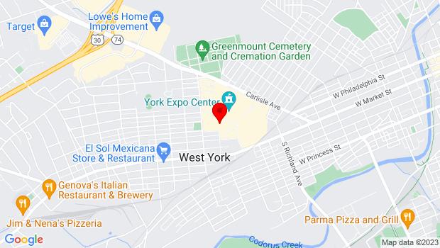 Google Map of 334 Carlisle Avenue, York, PA 17404, York, PA 17404