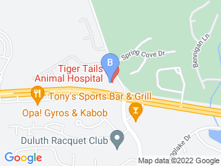 Map of Tiger Tails Animal Hospital Dog Boarding options in Duluth | Boarding