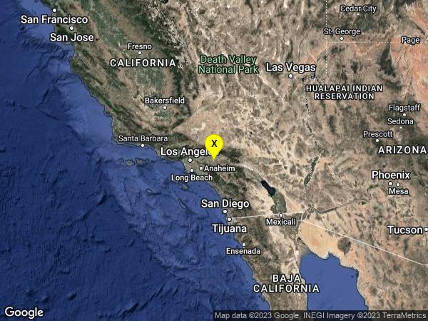 earthquake 4km NW of Glen Avon, CA
