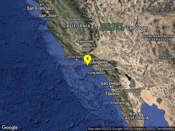earthquake 9km WNW of Malibu, CA