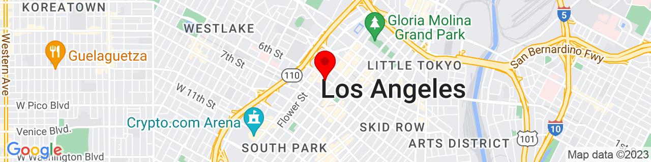 Google Map of 34.0506708, -118.2551963