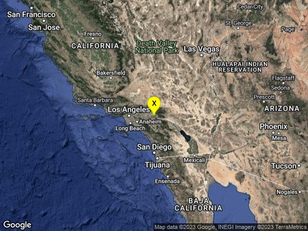 earthquake 1km ESE of Redlands, CA